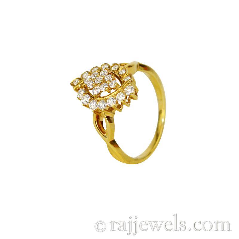 18k Diamond Yellow Gold Cluster Ring