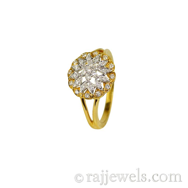 18k Diamond Yellow Gold Cocktail Ring
