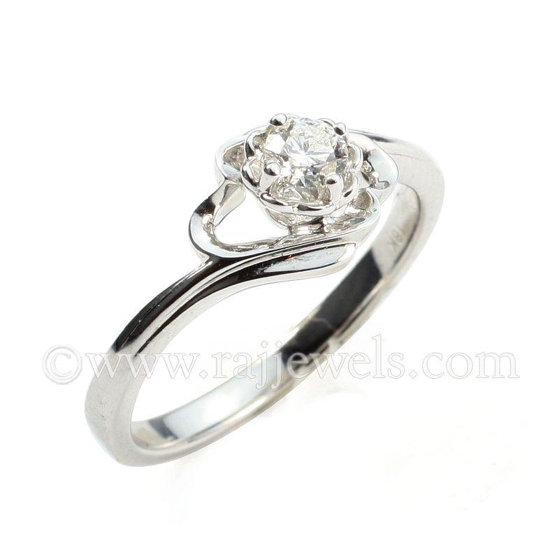 18k Diamond Rose Design Diamond Ring