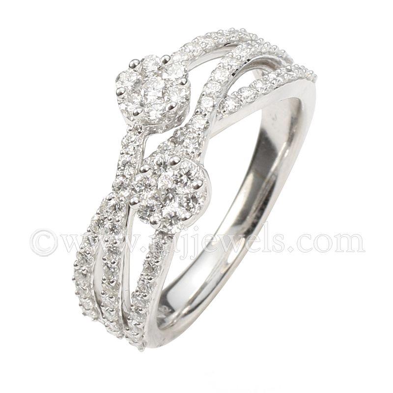 18k Diamond Crossover Cluster Ring