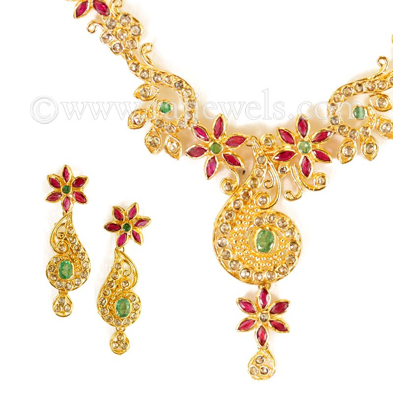 22k Gold Magnolia Diamond Necklace
