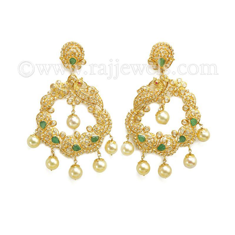 22k Gold Pearly Gemstone Chandbali