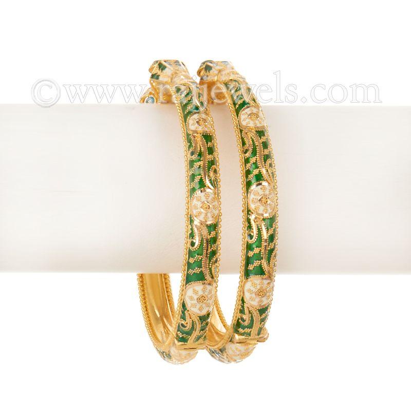 22k Gold Envy Green Enamel Bangles