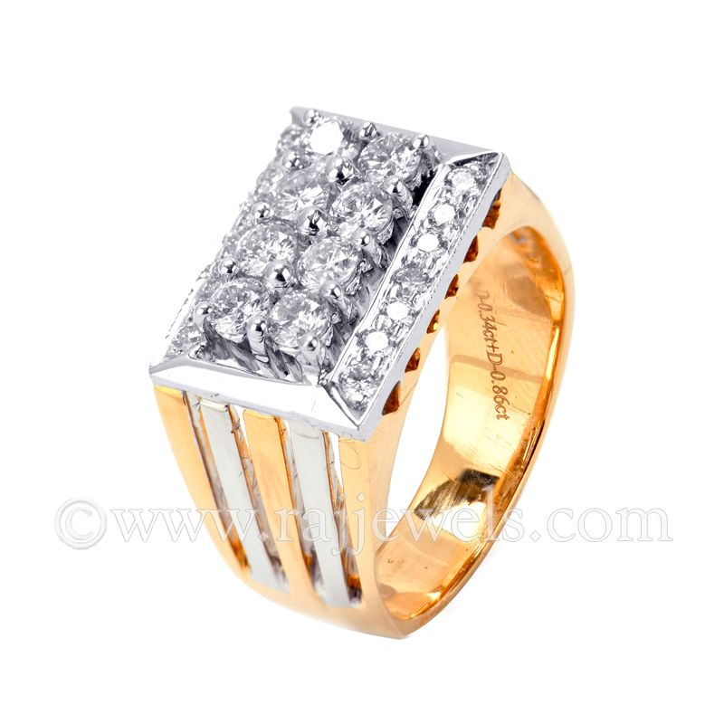 18k Diamond Striped Two Tone Diamond Ring