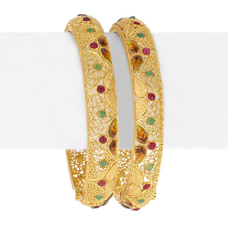22k Gold Kanza Enamel Bangles
