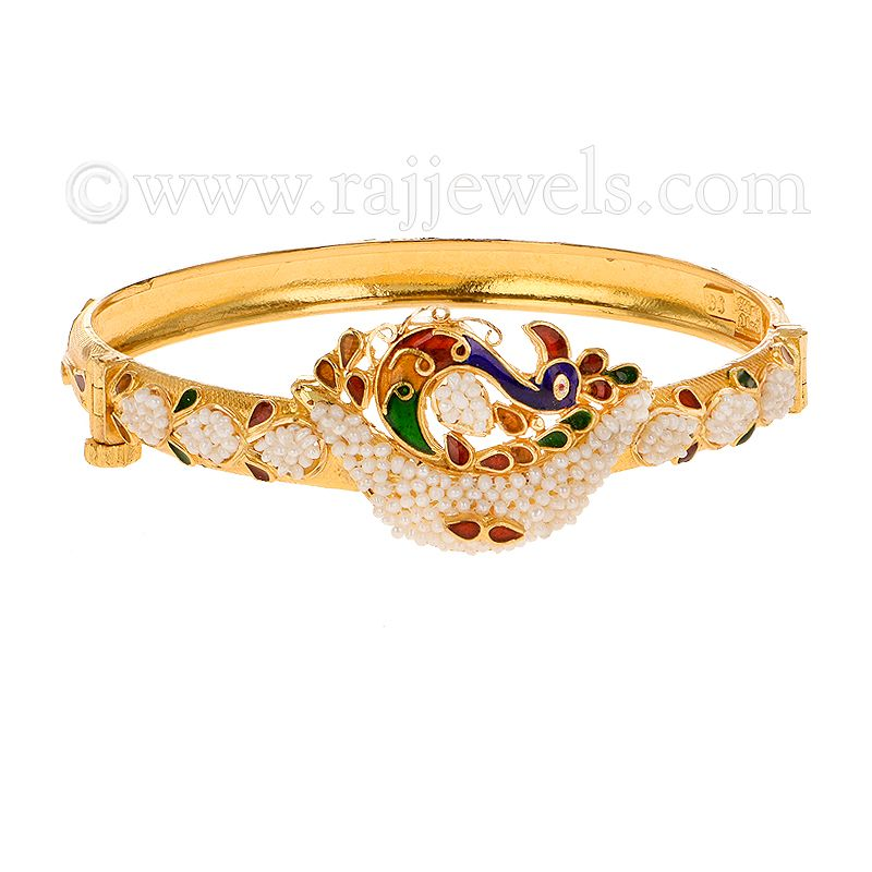 22k Gold Peacock Pearl Bangle Bracelet
