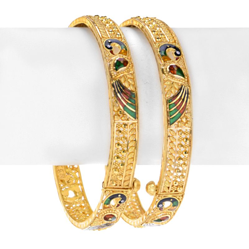 22k Gold Authentic Peacock Design Kangans