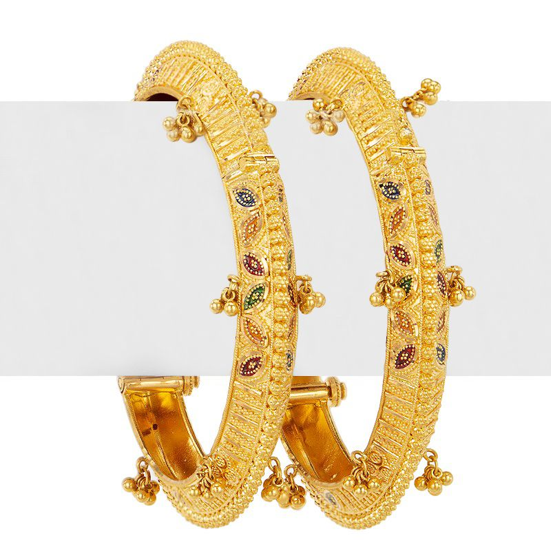 22k Gold Wide Yellow Gold Bangles