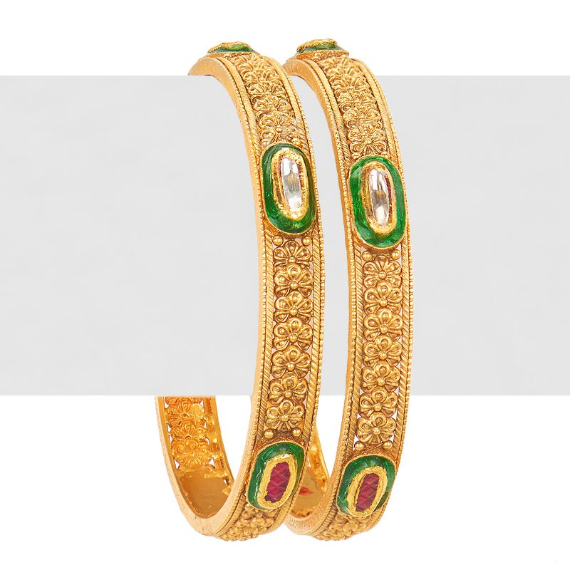 22k Gold Antique Kundan Bangles