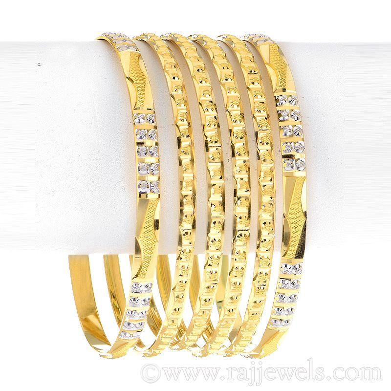 22k Gold Zia Sparkle Gold Bangles