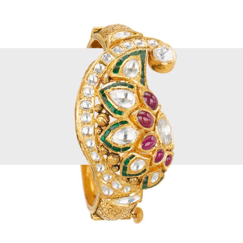 22k Gold Kundan Antique Bangle Bracelet