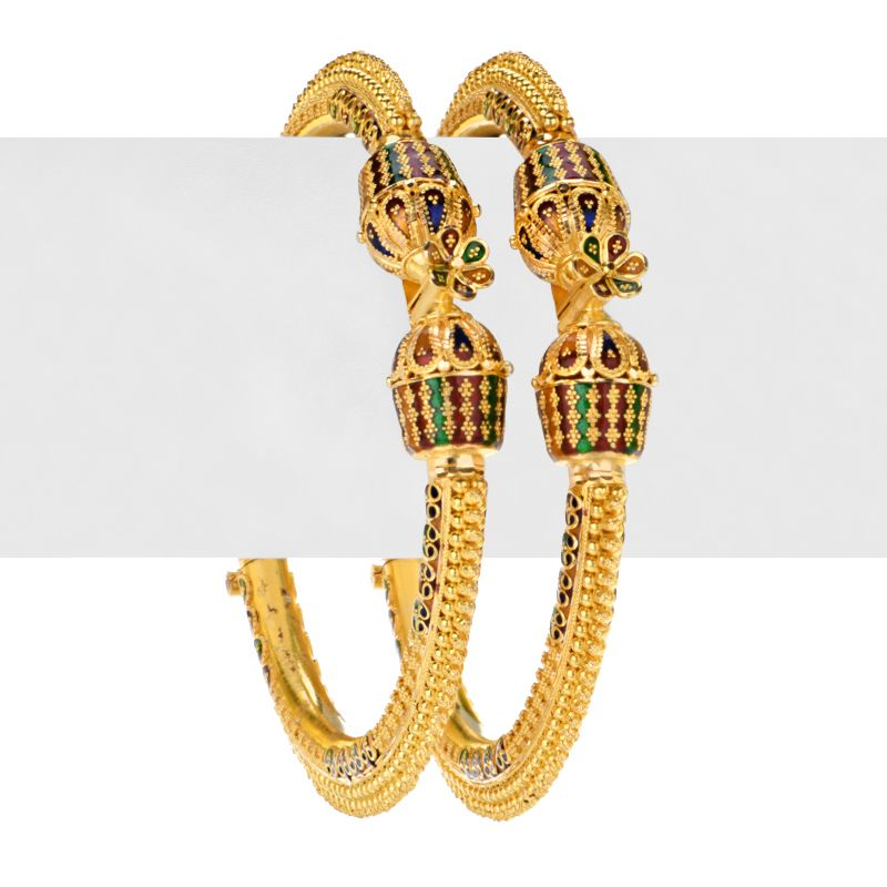 22k Gold Bandini Meena Bangles