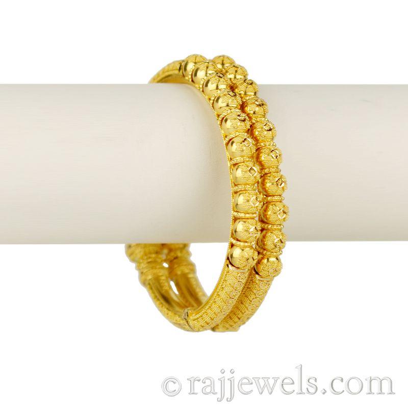 22k Gold Riz Balls Kada Bangles