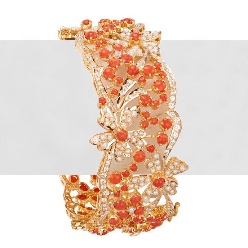 22k Gold Coral Pearls Kada Bangle