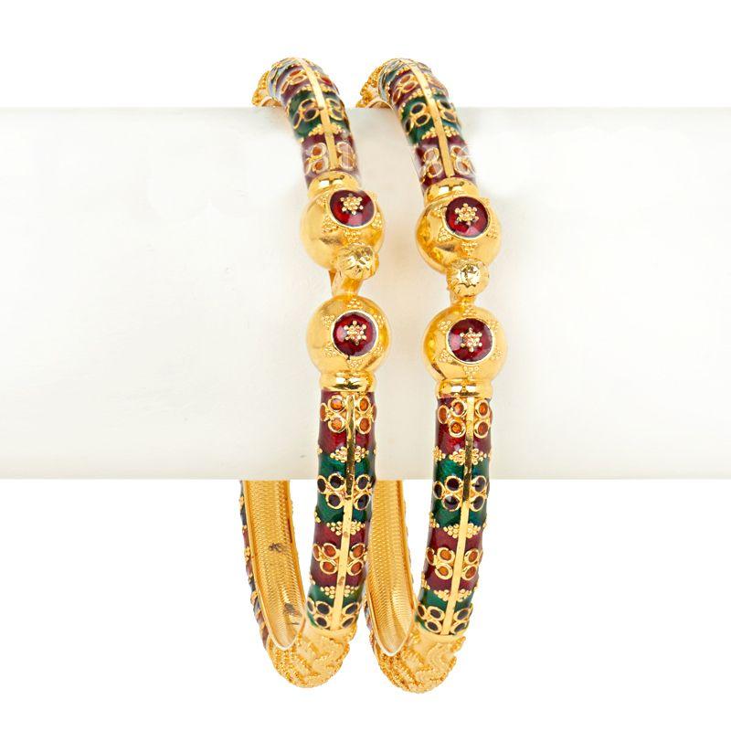 22k Gold Rangoli Meena Bangles