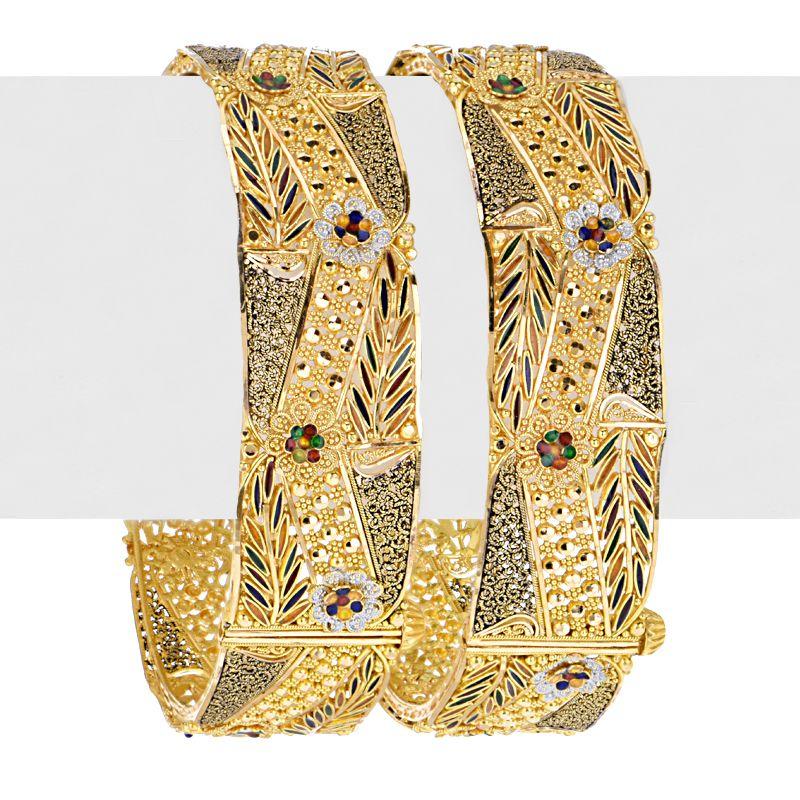 22k Gold Sehaj Enamel Kadas