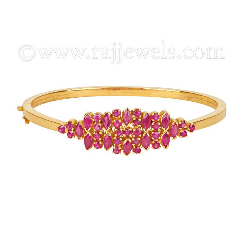 22k Gold Classic Ruby Bangle Bracelet