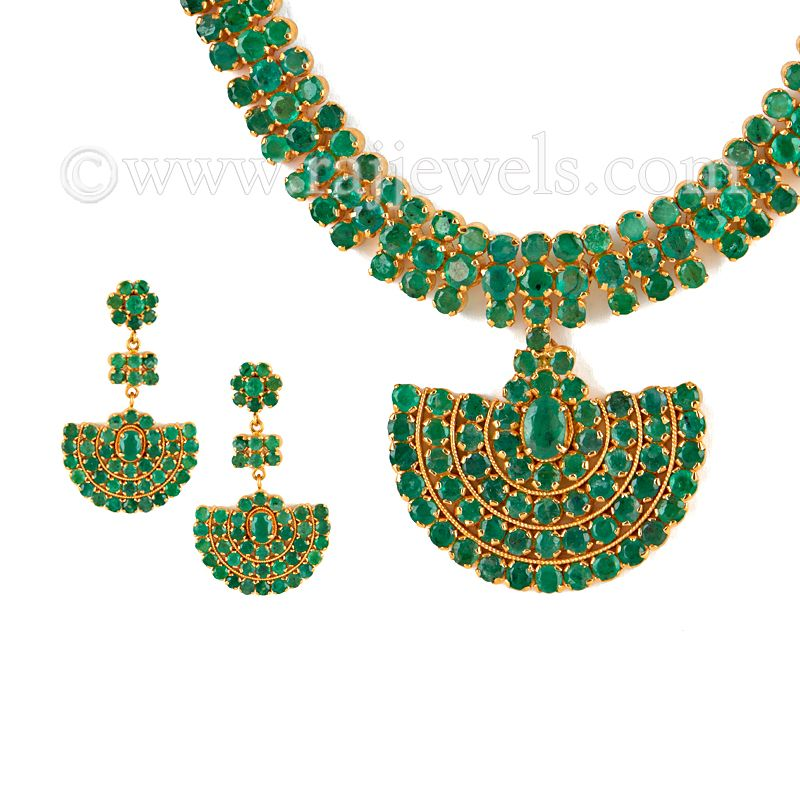 22k Gold Long Emerald Necklace