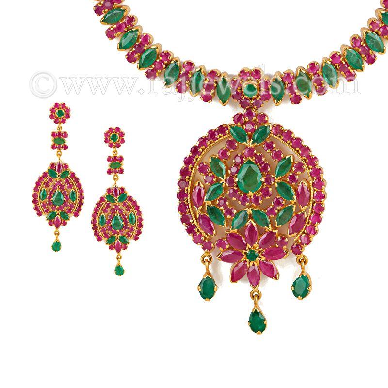 22k Gold Maharani Gemstones Necklace