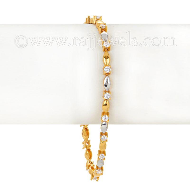 22k Gold Thin Two-tone Gold Cz Bracelet