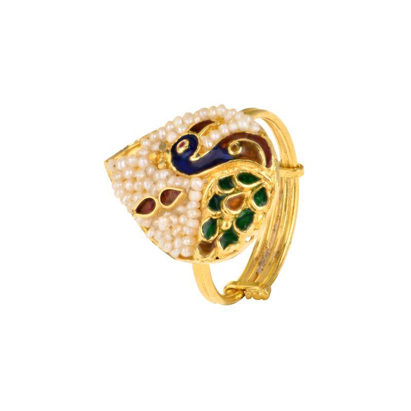 22k Gold Basra Pearl Peacock Ring