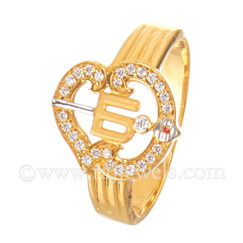 22k Gold Om Murugan CZ Ring