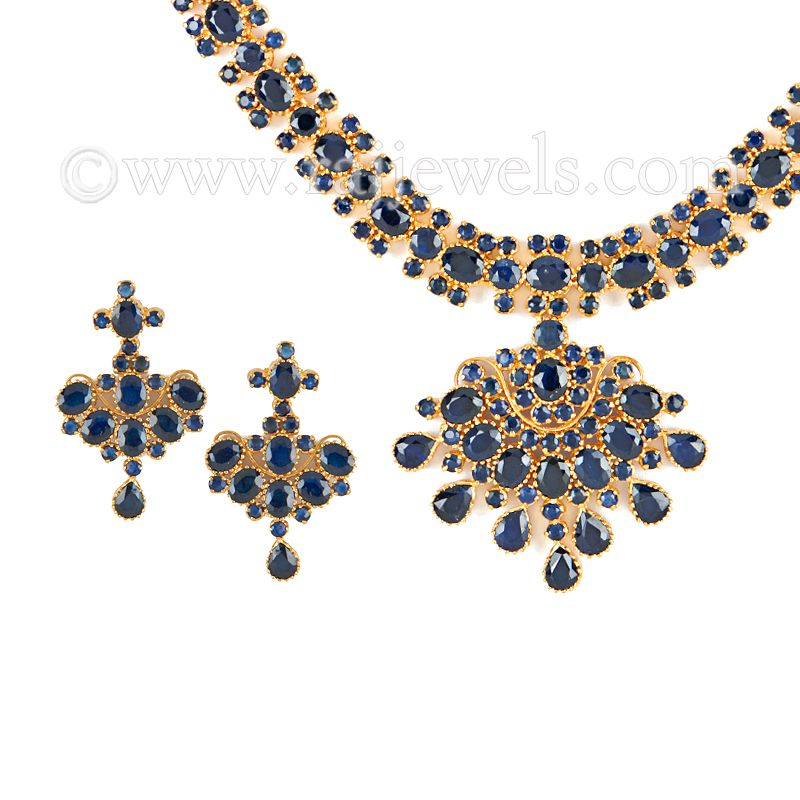 22k Gold Sapphire Mani Necklace