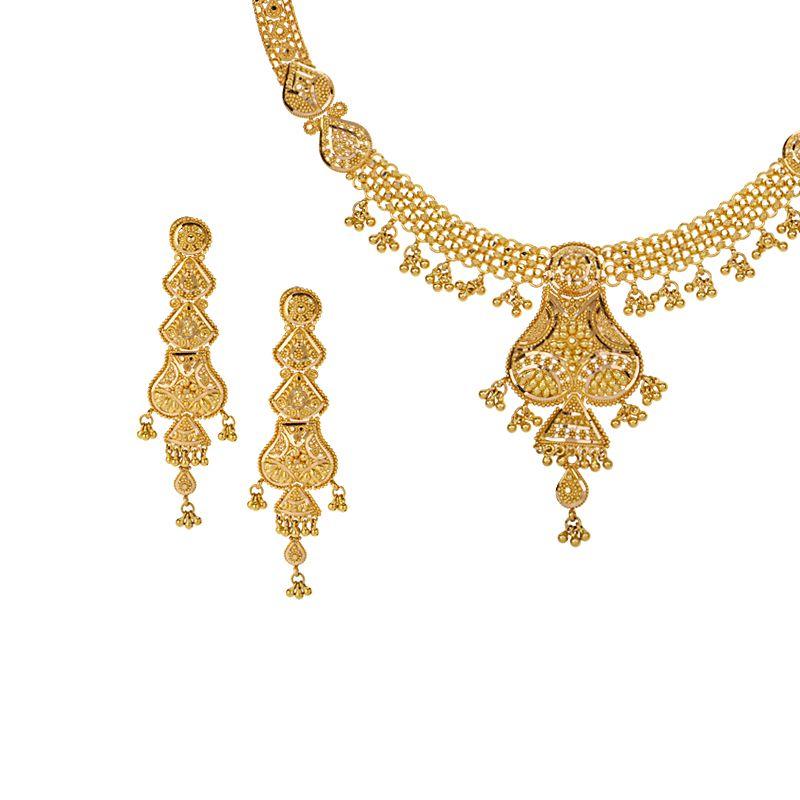22k Gold Aditri Dangles Gold Necklace