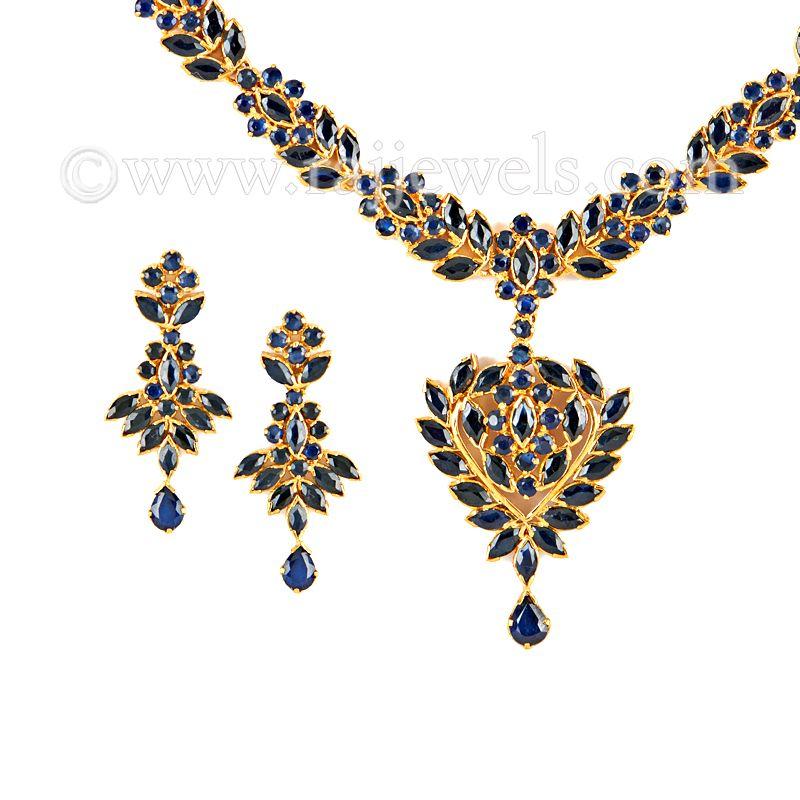 22k Gold Suma Sapphire Necklace