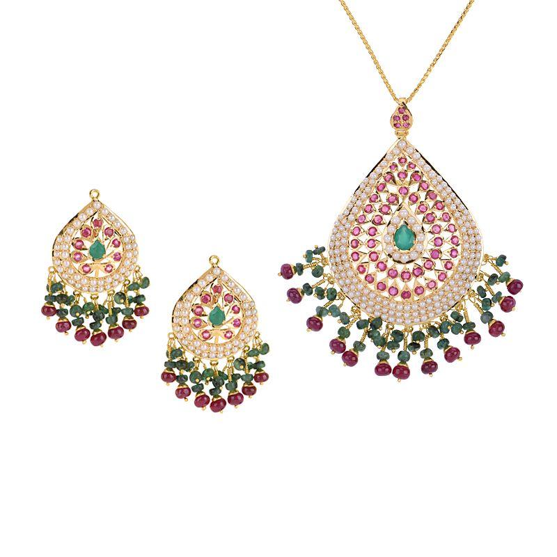 22k Gold Pearl Gems Pendant Set