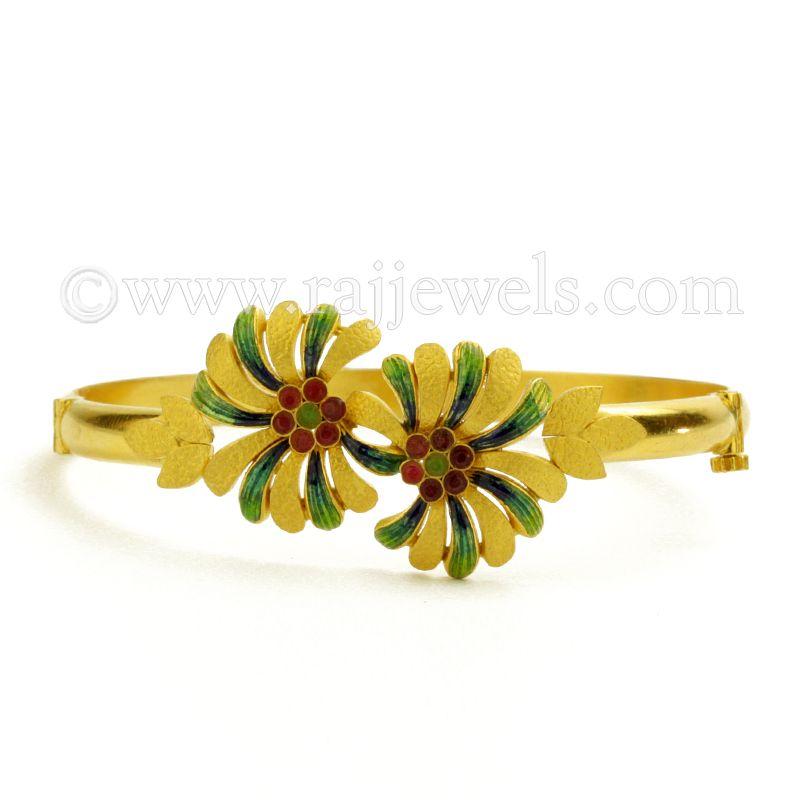22k Gold Enamel Flowers Bracelet