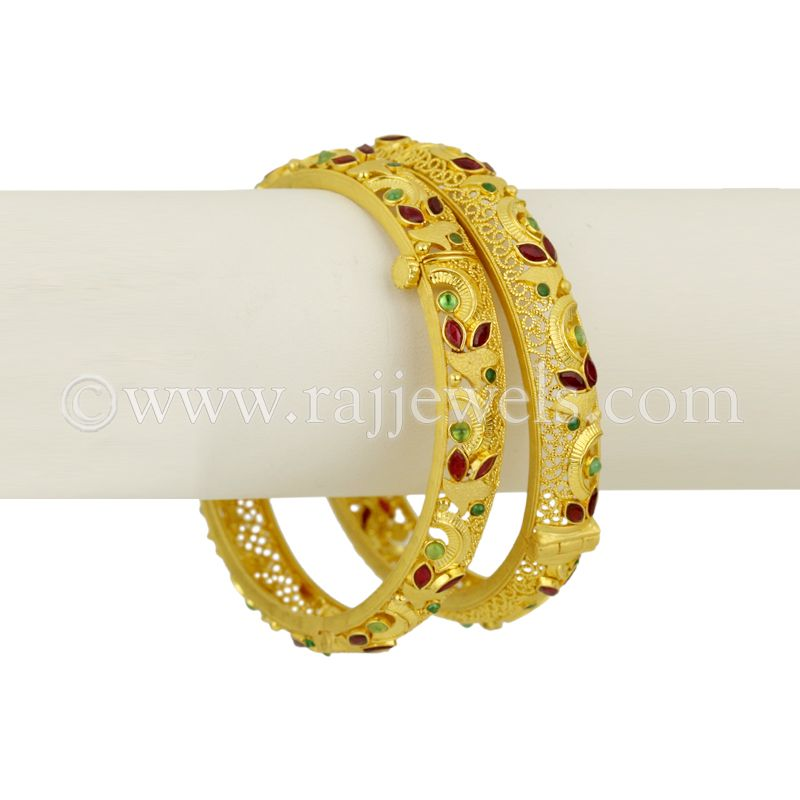 22k Gold Zivera Stones Bangles