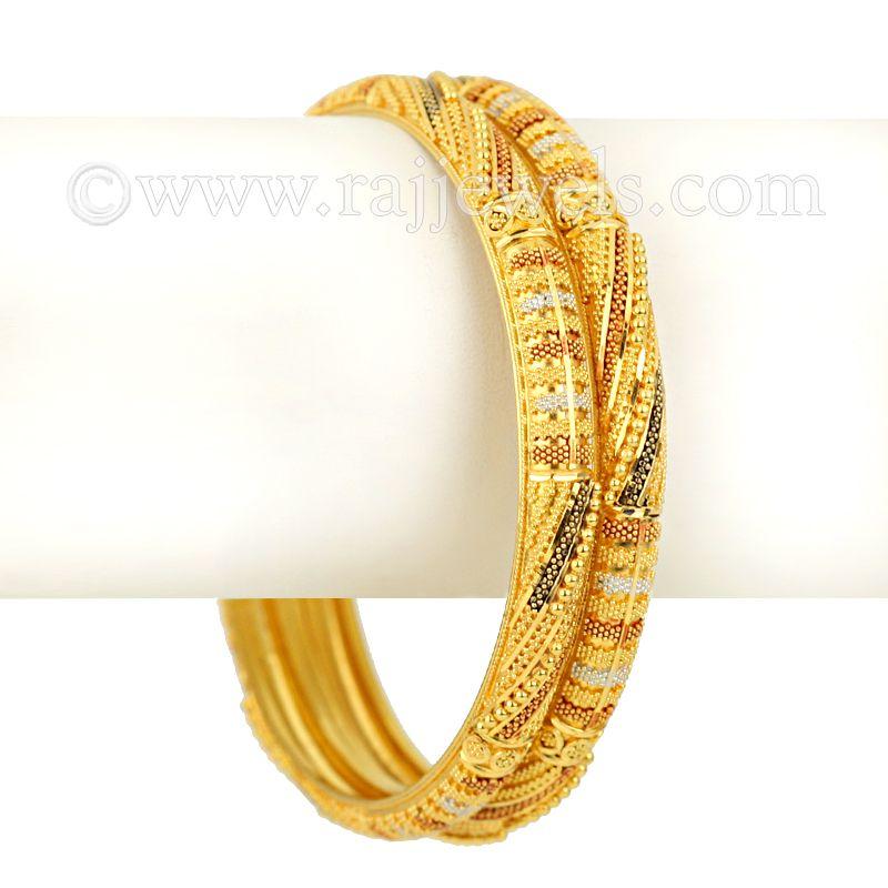 22k Gold Classic Enamel Bangles Pair