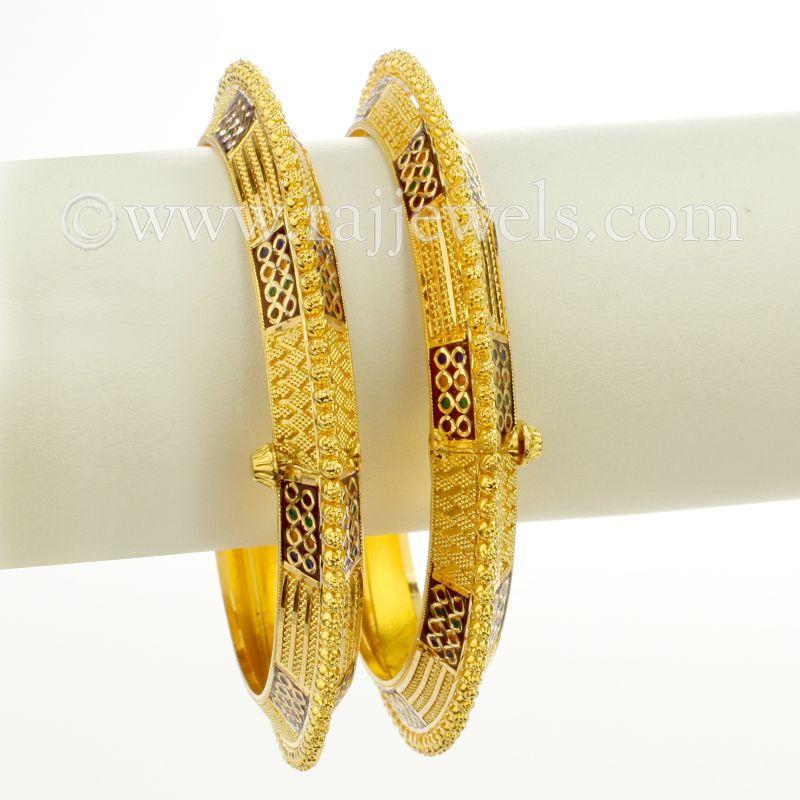 22k Gold Minakari Wide Gold Bangles