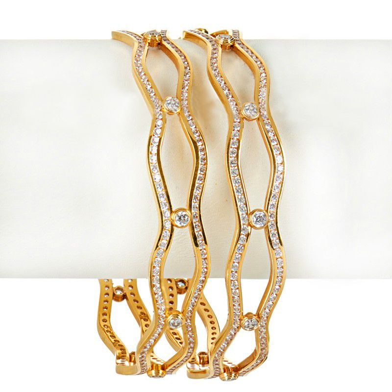 22k Gold Wavy CZ Gold Bangles