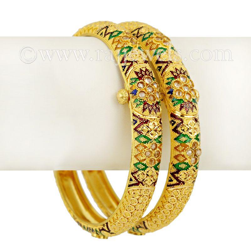 22k Gold Arha Minakari Gold Bangles