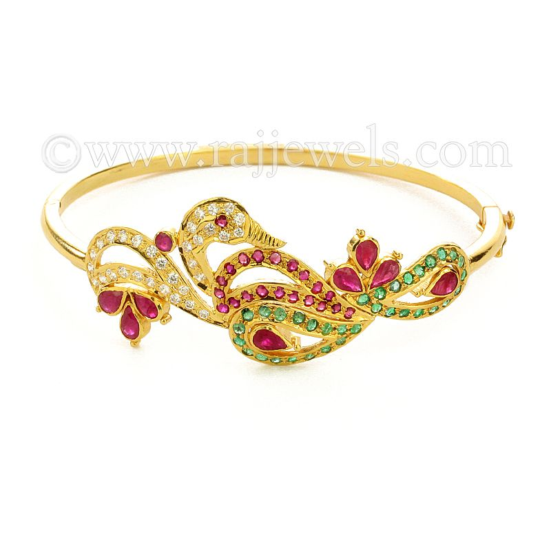 22k Gold Colors of Peacock Bracelet