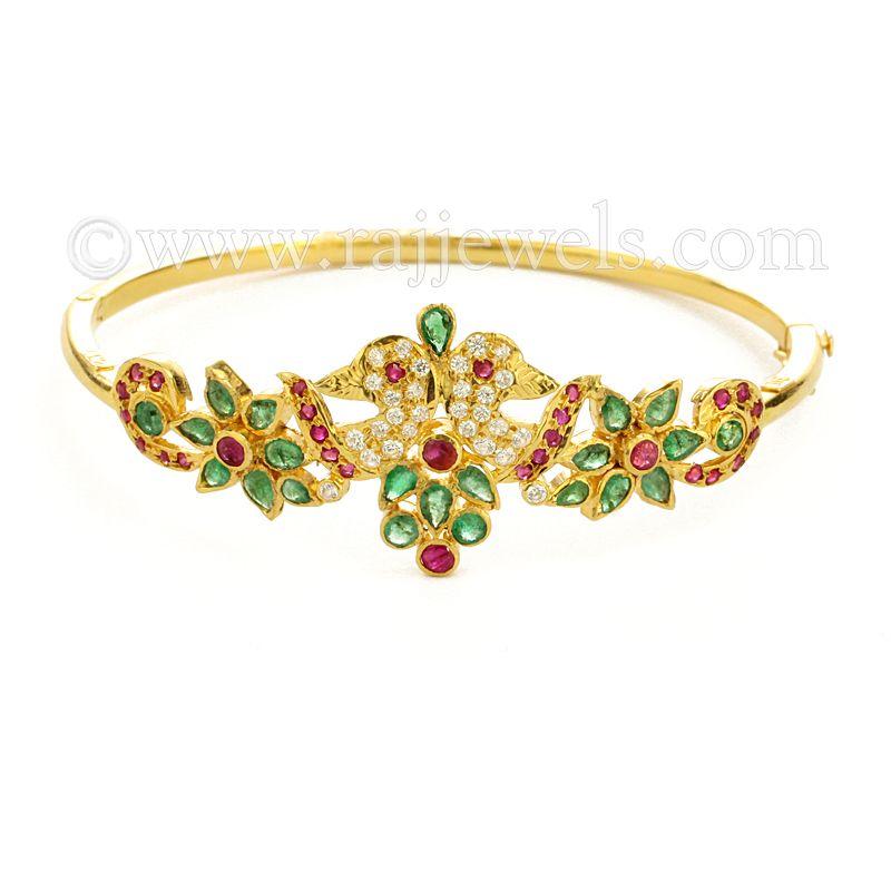 22k Gold Multi-color Peacock Bracelet