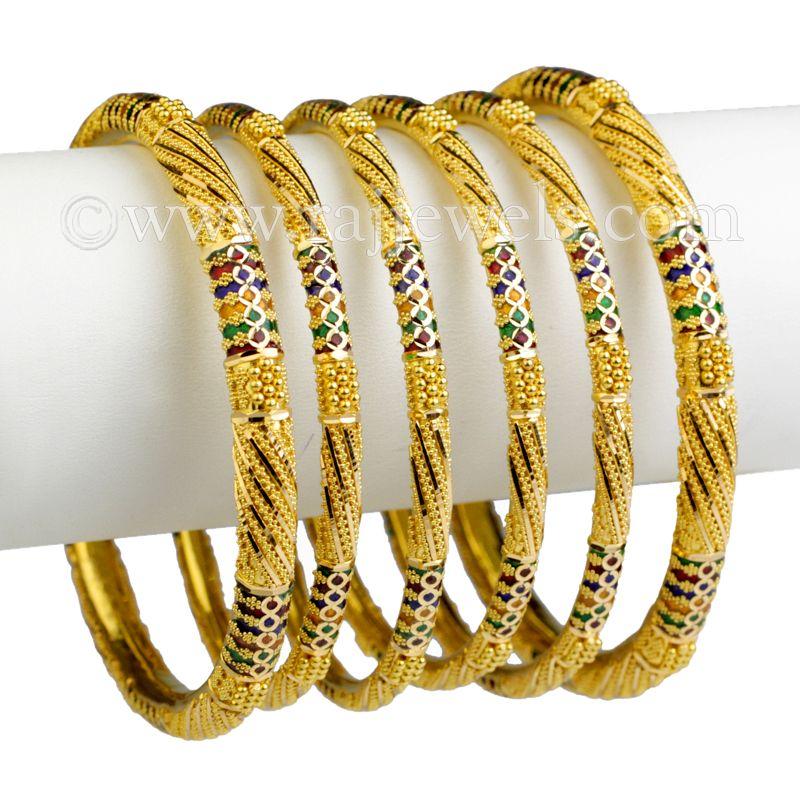 22k Gold Shiny Enamel Gold Bangles
