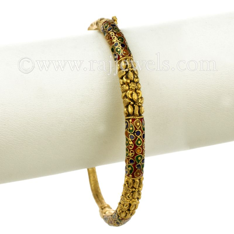 22k Gold Colorful Antique Gold Bangle