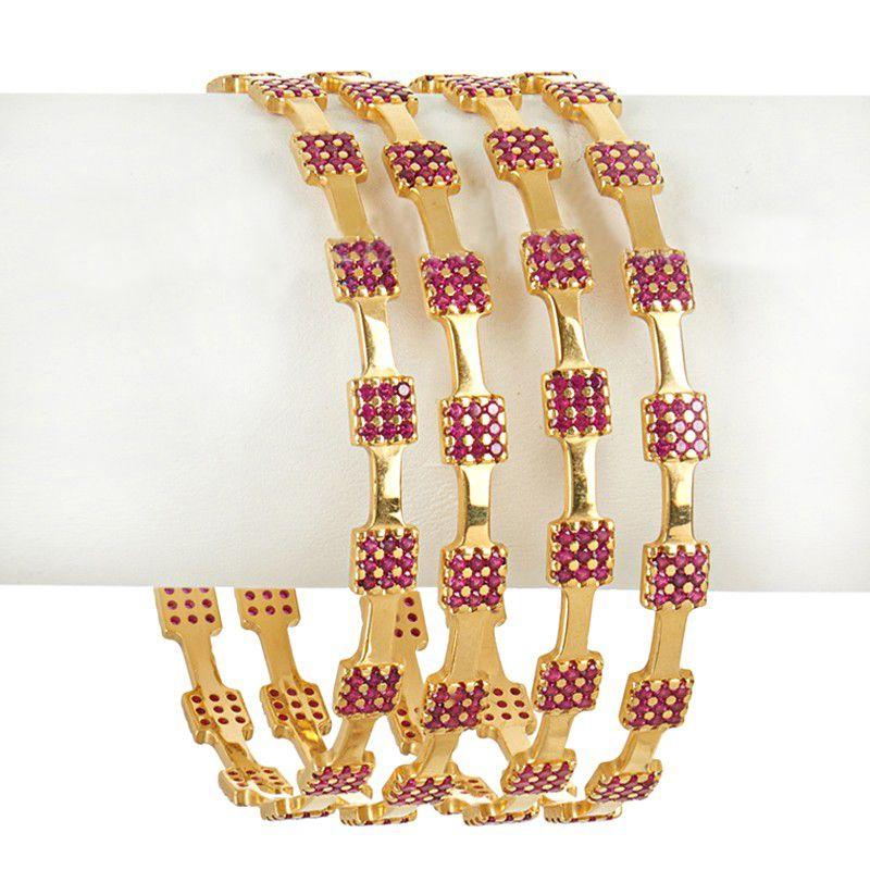 22k Gold Pink Cz Bangles