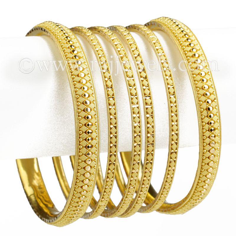 22k Gold Geometrical Design Gold Bangles