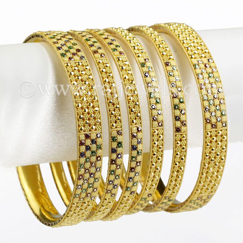 22k Gold Enamel Checkered Gold Bangles
