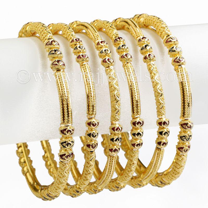 22k Gold Ball Design Enamel Bangles