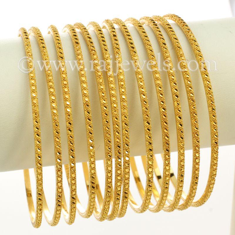 22k Gold Yellow Gold Thin Bangles