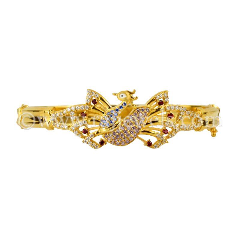 22k Gold Trendy Peacock Bracelet