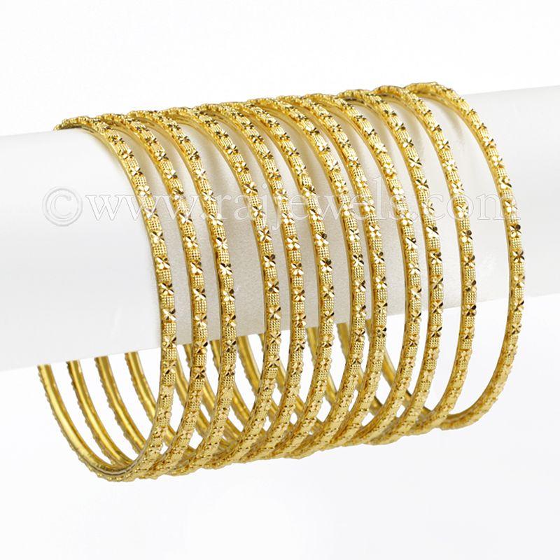 22k Gold Thin Bangles Set