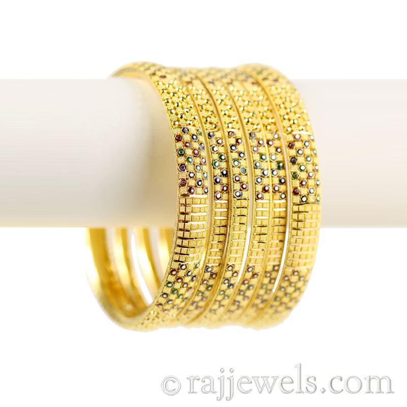 22k Gold Enamel Checkered Bangles