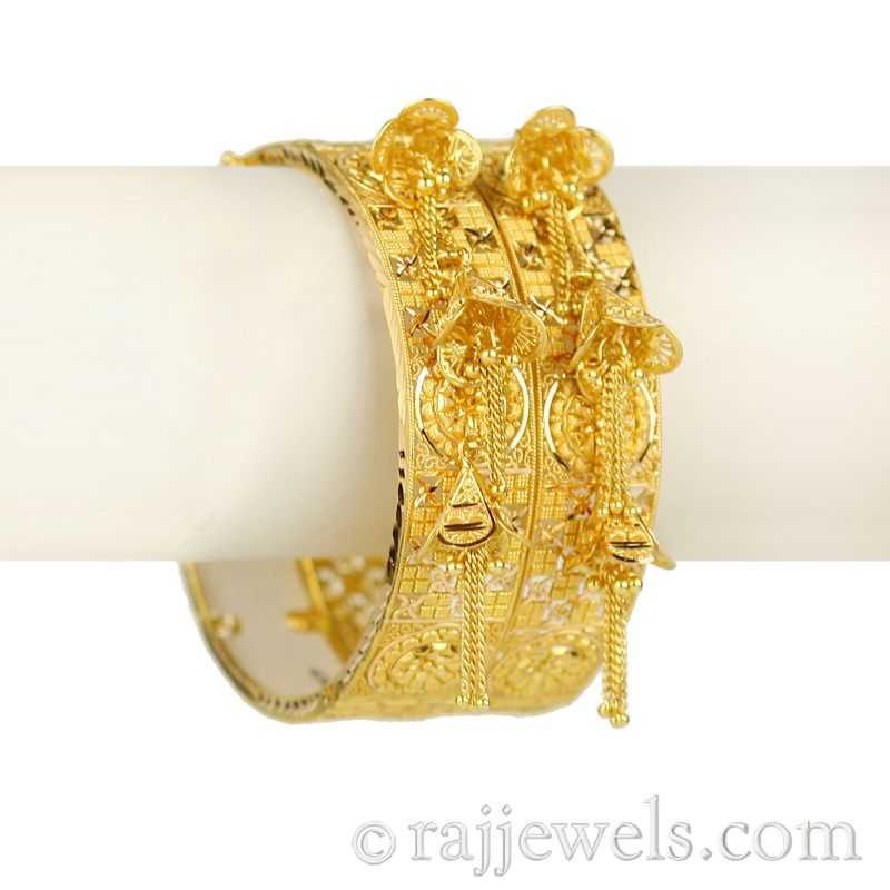 22k Gold Ambrosia Dangle Bangles