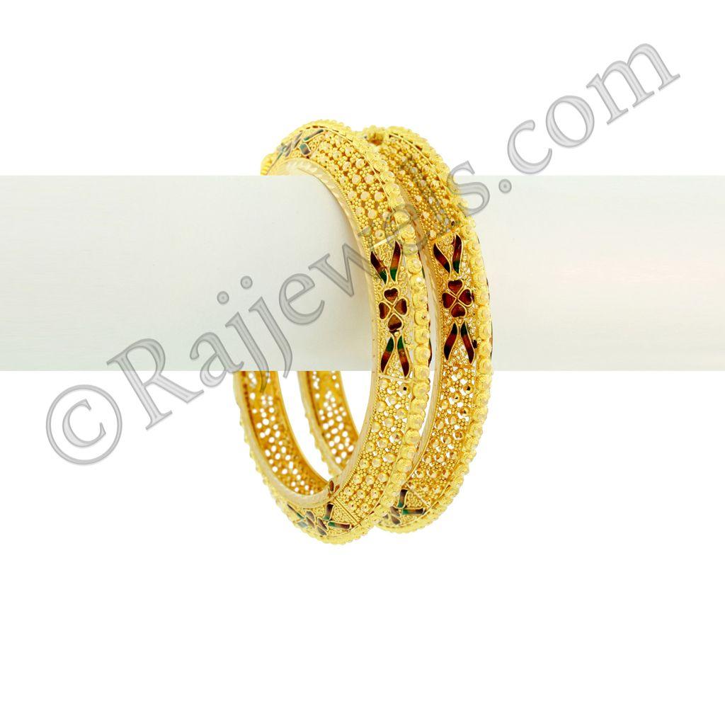 22k Gold Unique Shape Enamel Kadas